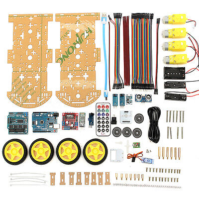 4WD Smart Robot Car Kit UNO Bluetooth IR Obstacle Avoid Line L298N For Arduino