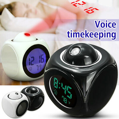 Alarm Clock Multi-function Digital LCD Voice Talking LED Projection Temp Station