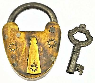 Antique Brass Padlock with Three Sun Motif - My Ref P406