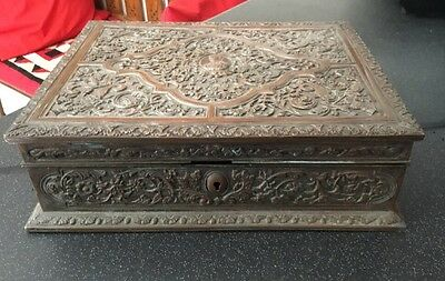Antique Victorian Edwardian Silver Plated Copper Jewellery Stationary Box