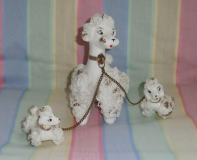 Vintage Mid Century Poodle Dog Mother and Pups Porcelain Spaghetti Lace Figurine