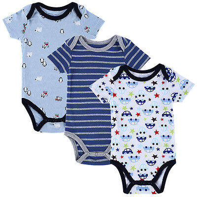 3pcs Cotton Newborn Baby Boy Clothes Bodysuit Romper Jumpsuit Playsuit Outfits