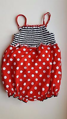 M&S baby girl 18-24 months red white spotted blue mock nappy swimming costume