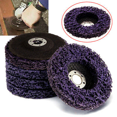 5 Pcs 100x16mm Poly Strip Disc Wheel Paint Rust Removal Clean Grinder Purple