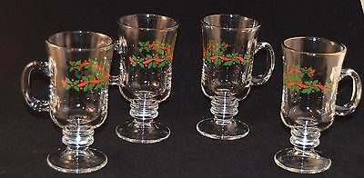 Set of 4 Vintage Arby's Christmas Holly Berry Gold Rim Footed Coffee/Cocoa Mugs