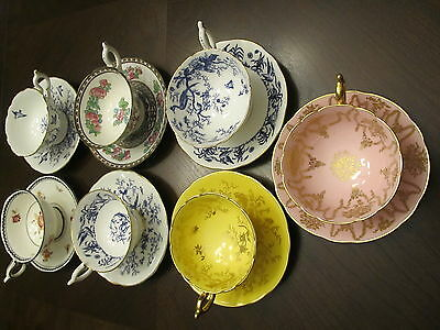 7 Beautiful Coalport Teacups & Saucers; Bone China Made in England