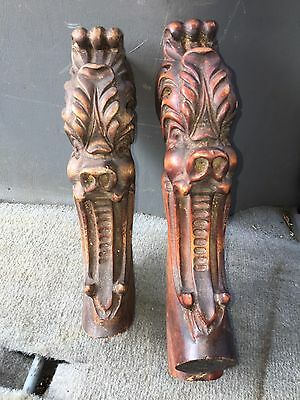 "1920's Or 9 7/8"" Carved Wood Griffin Pediments"