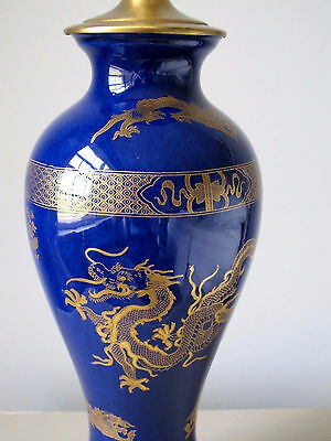 Antique Carlton Ware Chinese Dragon Gilded Powder Blue Lamp Kang HSE Chinoiserie