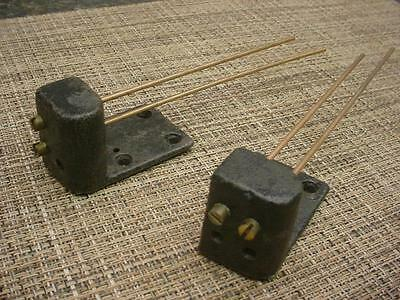 "Lot 2 Vintage 7"" Mantle Clock  Gong  Replacement 2-Gong Brass Rod & Bases E110"