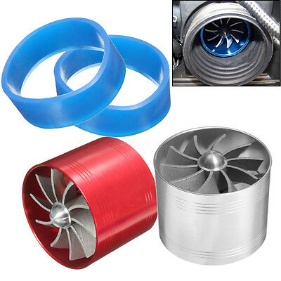 CAR AIR FILTER/INTAKE SUPERCHARGER/TURBO FAN FUEL SAVER INCREASE Silver Red
