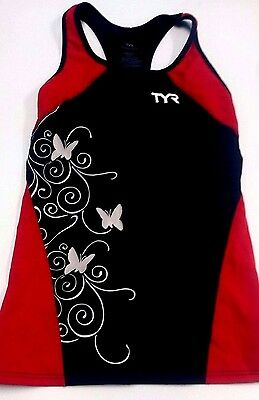 New TYR Competitor Fitted Sleeveless Cycling Tankini |Women's Large xL Tri Top