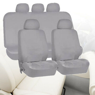 Universal Car Seat Covers Protectors Headrests Full 9 Piece Set Washable Grey