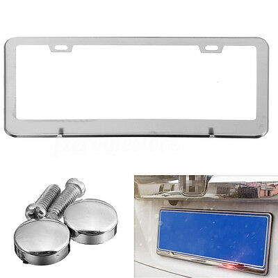 Stainless Steel Chrome Car License Number Plate Frame Metal Tag Cover Screw Caps