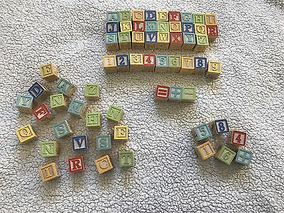 Lot of 64 Wooden ABC alphabet play blocks numbers Wood cubes math Learning