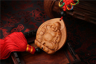 Jujube Wood Carving Red Chinese Happy Buddha Statue Sculpture Car Pendant
