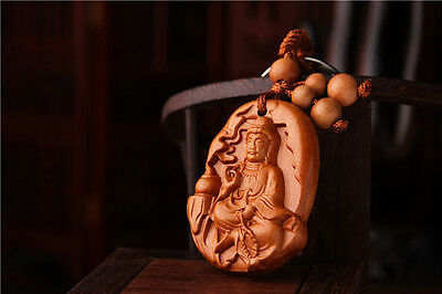 Wood Carving Chinese Kwan Guan Yin Statue Sculpture Amulet Pendant Key Chain