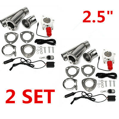2x 2.5''Electric Exhaust Valve Catback Downpipe System Remote Cutout E-cut Kit