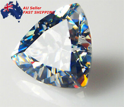 AU New 12X12mm Trillion Cut Unheated 10.28Ct White Sapphire AAAA+ Loose Gemstone