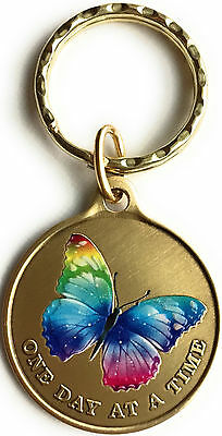 Butterfly Color One Day At A Time Keychain AA NA Serenity Prayer Sobriety Gift