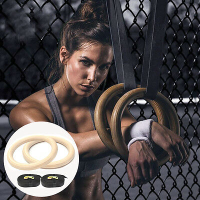 Pair of Wooden Wood Gymnastic Olympic Crossfit Gym Rings 2x Hoops Workout NEW