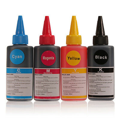 100ML Refill Ink Black or Colour for HP Canon Inkjet Printer Dell Brother