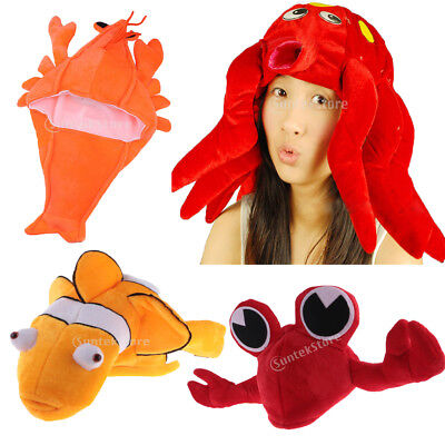 Cartoon Red Crab Costume Kids Adults Hat Mask Cap Fancy Party Birthday Gift