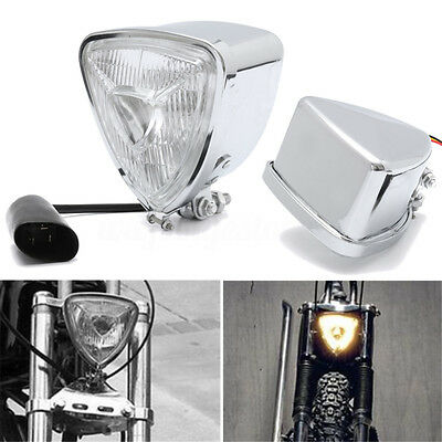 12V 35W Chrome Motorcycle Triangle Headlight Lamp Hi/Lo Beam for Harley Bobber