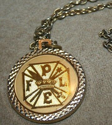 Vtg 2 Sided Necklace~ Pythian Sisters~ Purity, Love, Equality, Fidelity~ Coin