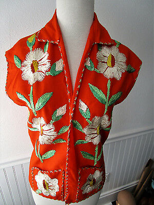 Vintage Oaxacan Mexican Embroidered Orange Wool Vest, Gorgeous Detail & Color!