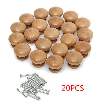 20x Pin Wood Door Drawer Cupboard Knob Handle Drilled Plain Natural Wooden 28mm