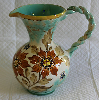 Pretty Gouda Pottery Jug signed Aster