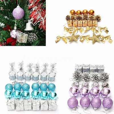 32Pcs Christmas Balls Baubles Bells Charms Xmas Tree Hanging Ornament Home Decor