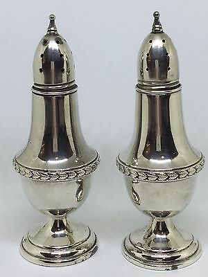 Vintage Mueck-Cary Sterling Silver Pair Salt Pepper Shakers Ornate Leaf