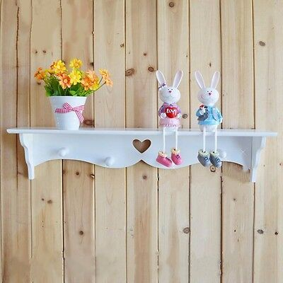 Wall Mounted Shelf Display Coat Rack Hat Hook Hanger Holder Home Organizer Decor