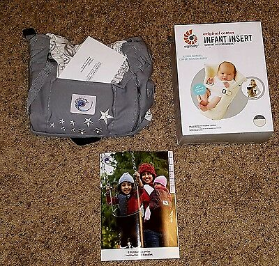 Both items are NEW Ergo baby carrier Gray Galaxy Stars AND NEW Newborn Insert