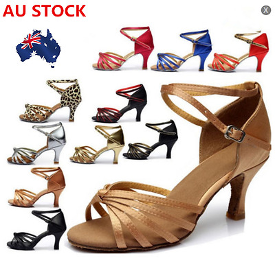 Women Ballroom Latin Tango Dancing Shoes Ladies Mid Heeled Salsa Shoes AU STOCK