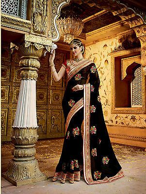 Latest Indian Ethnic sari Designer Black Embroidered Wedding Party-wear Sarees