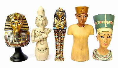 5 Ancient Egyptian Pharaoh Tutankhamun Gold Mask Coffin Akhenaten Nefertiti Bust