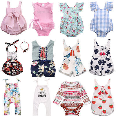 UK Newborn Toddler Baby Girls Floral Romper Bodysuit Playsuit Clothes Outfits
