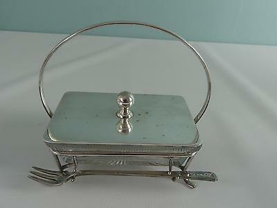 (ref165BX) Antique silver plated sardine/pickle dish stand and fork