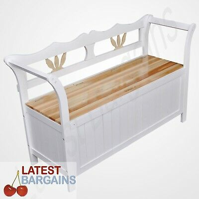 Wooden Storage Bench Seat White Timber Home Blanket Box Toy Chest Chair
