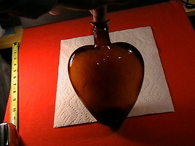 "Paul Masson 7 3/4"" Amber Brown Glass Heart Shaped Valentine Love Potion Bottle"