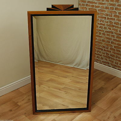 Art Deco Contemporary Black & Burr Walnut, Large Wall Mirror Unique 20's style