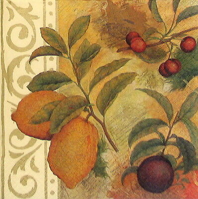 4x Paper Napkins - Vintage Fruits and Ornament- for Party, Decoupage Craft