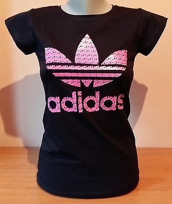 Black Women New T-Shirt Pink Adidas Logo Free Shipping all sizes with no tag