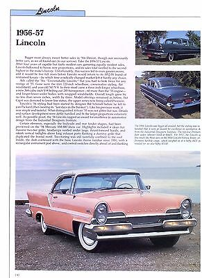 1956 1957 Lincoln 368 ci Info/Spec/photo price production numbers 2 pages 9x12