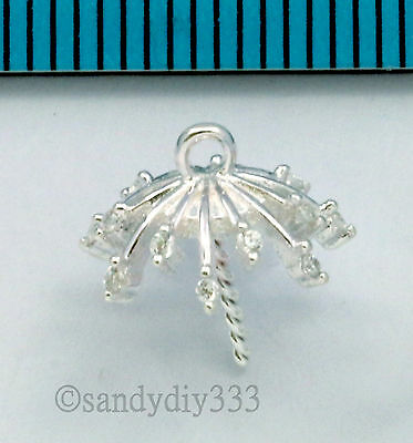 1x BRIGHT STERLING SILVER CZ CRYSTAL PENDANT CLASP PEARL BAIL PIN 11mm CUP #2639
