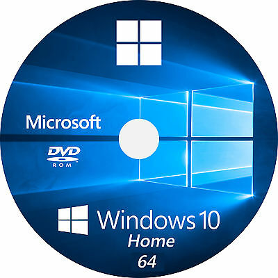 Windows 10 HOME 64 bit instal disc + License key for activation