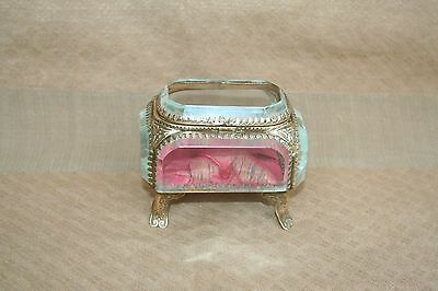 ANTIQUE FRENCH JEWELRY TRINQUET BOX BEVELED GLASS & BRASS FOUTED MOUNTS XIXth C.
