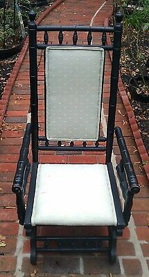Antique Wooden Rocking Chair With Coil Springs - Black